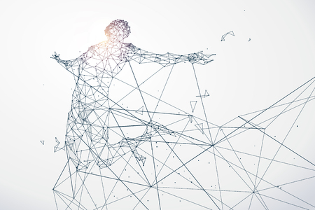 strive: Running Man,Network connection turned into, illustration. Illustration