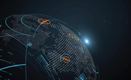 interface mondialisation Futur, un sens de la science et de la technologie des graphiques abstraits. Vecteurs