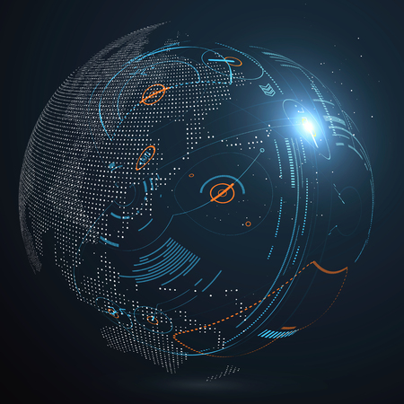 hologram: Futuristic globalization interface, a sense of science and technology abstract graphics.