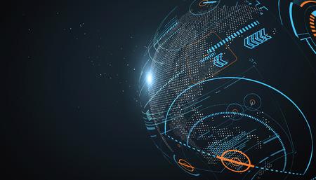 Futuristic globalization interface, a sense of science and technology abstract graphics. Vektoros illusztráció