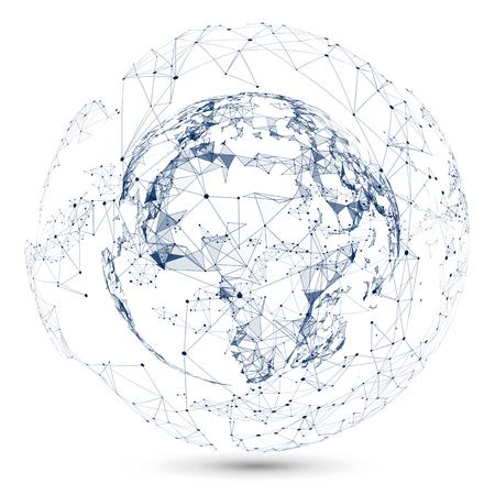 Point, Lijn en vormen een abstracte kaart van de wereld, een gevoel van wetenschap en technologie.