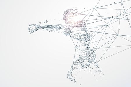 particules graphiques Sports, connexion réseau transformé en, illustration. Vecteurs