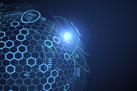 未來全球化接口,科技抽象圖形感。 向量圖像