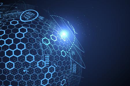 technologia: Futurystyczny interfejs globalizacja, poczucie nauki i technologii abstrakcyjne grafiki.