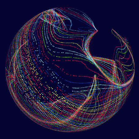 Three-dimensional sphere composed of multicolored curves, abstract graphics. Vectores