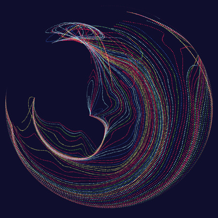 Three-dimensional sphere composed of multicolored curves, abstract graphics. Illustration