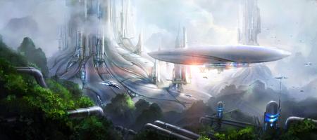 공상 과학 소설 장면.