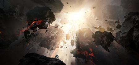 World collapse, doomsday scene, digital painting. Foto de archivo