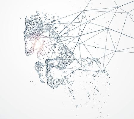 駆ける馬の図になってネットワーク接続
