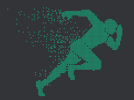 Running Man graphics,composed of mosaic particle.