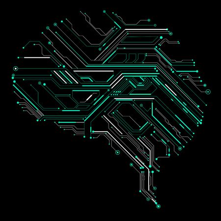 artificial intelligence: Circuit board composed of brain graphics.