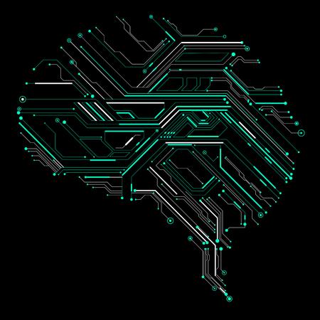 inteligencia: Circuit board composed of brain graphics.