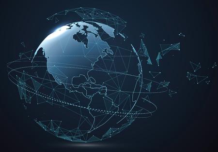 Interfaccia di globalizzazione futuristica, grafica astratta di scienza e tecnologia.