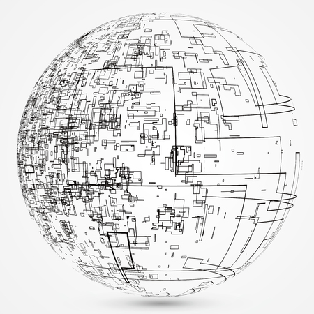 Abstract spherical graphic design.