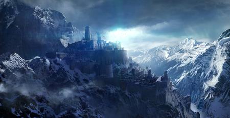 Schneebedeckte Berge zwischen dem Schloss. Standard-Bild - 78967298