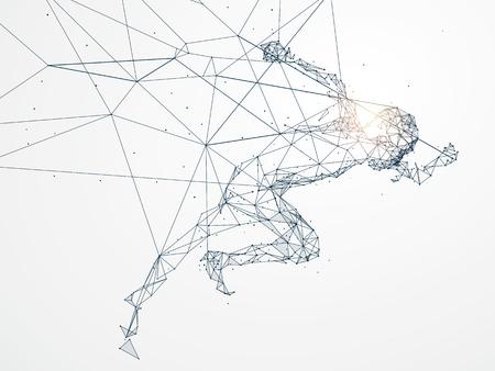 Lopende mens, netwerkverbinding omgezet in, vectorillustratie. Stock Illustratie