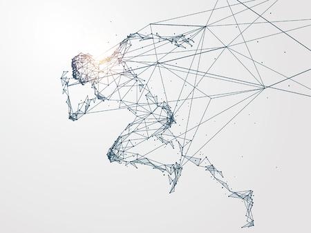 Running Man met netwerkverbinding veranderd in concept image