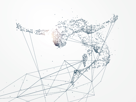 Sports Graphics with Network connection turned into concept image Illustration