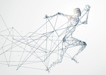 男は、ネットワーク接続を実行します。