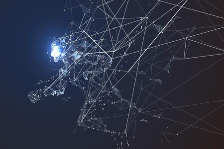 strive: Running Man,Network connection turned into, vector illustration. Illustration