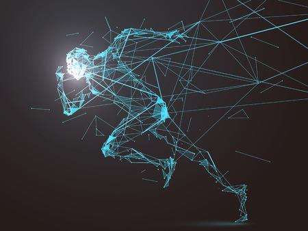 Uruchomiony Man przekształca się w połączenie sieciowe Ilustracje wektorowe