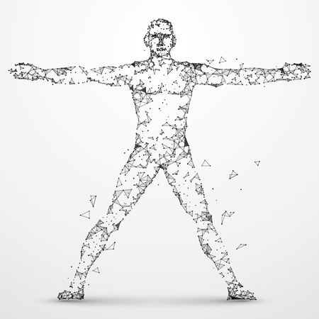 Lines connected to Human body, symbolizing the meaning of artificial intelligence. Illustration