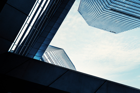constitute: Look up at the modern city skyscrapers.