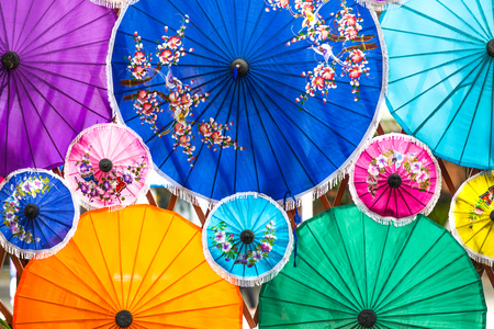 Colorful umbrella, traditional Chinese style. Stock Photo
