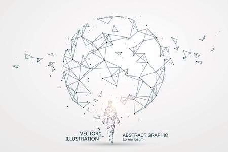 Líneas conectadas a la escena de ciencia ficción, que simboliza el significado de la inteligencia artificial.