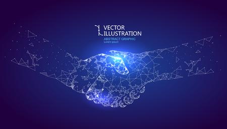 Um gráfico de aperto de mão formado por conexão ponto e linha, design gráfico de ciência e tecnologia.