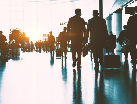 The passengers in the airport, the business background. Stock Photo - 87506294