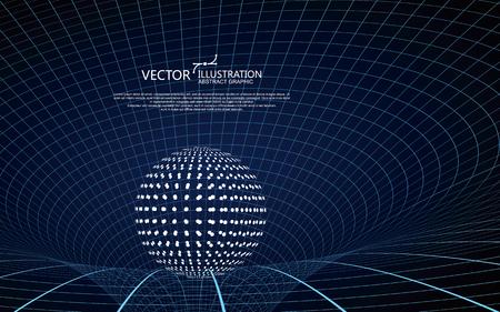 曲線は、三次元旋回形、重力波の概念、技術背景デザインを形成します。