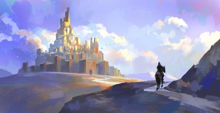 Ridders van de middeleeuwse kasteelillustratie Stockfoto - 89252809