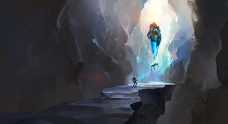 Digital painting of a strange cave Banque d'images