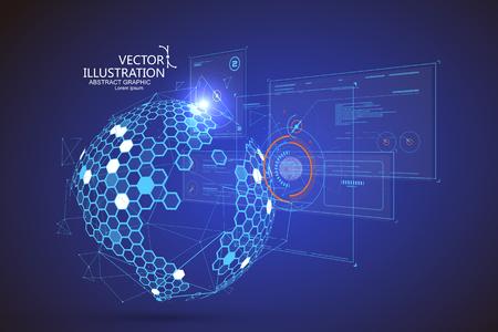 Holographic 3d UI design, technical illustration