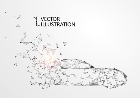 A car with a point line connection illustration. Illustration