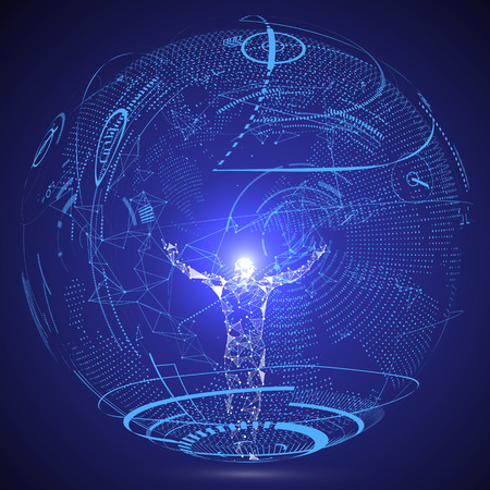 Linee collegate alla scena della fantascienza, che simboleggia il significato dell'intelligenza artificiale. Archivio Fotografico - 90677473