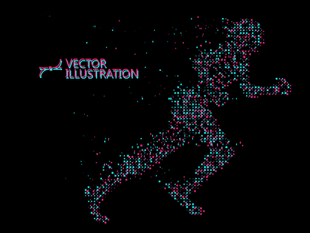Running Man,composed of mosaic particle. Illustration