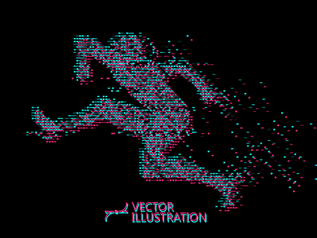 Jump Man,graphics,composed of mosaic particle.