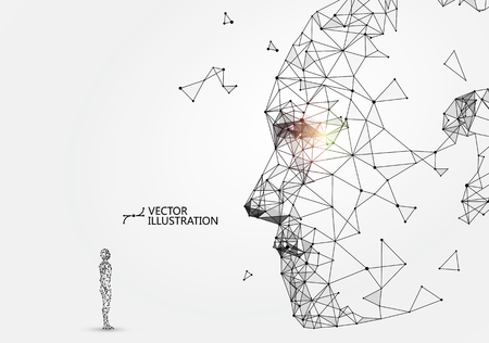 Man-machine interaction concept illustration.