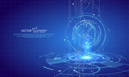Driedimensionale interfacetechnologie, sciencefictionscène. Vector Illustratie
