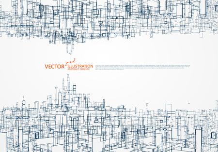 Het concept van het parallelle universum, virtuele stadsgrafiek, het ontwerp van de virtuele ruimte.