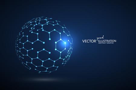 Moleculaire structuur samengesteld uit bollen Vector Illustratie