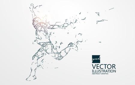 Running Man,Network connection turned into, vector illustration. Illustration