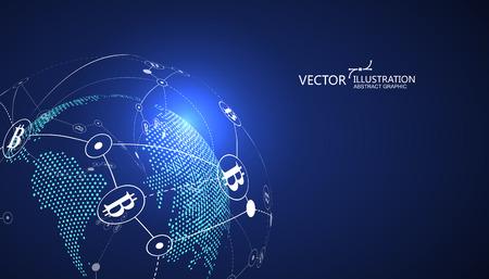 Pago electrónico, concepto de cadena de bloques, finanzas de internet, ilustración vectorial.