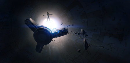 Lost spacecraft damaged in space, science fiction illustrations, digital painting.
