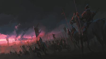 La pression de l'armée, les scènes de guerre anciennes, la peinture numérique. Banque d'images