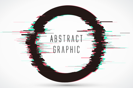 Circular abstract graphics, video showing damaged style, vector design.