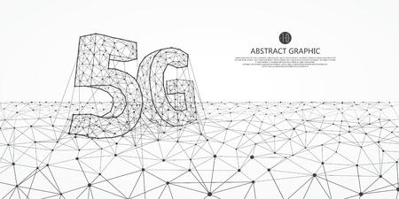 Connessione Internet, il concetto di intera rete 5G, scienza astratta e progettazione grafica della tecnologia.