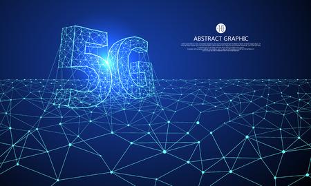 Connexion Internet, concept de réseau entier 5G, conception graphique abstraite de la science et de la technologie.
